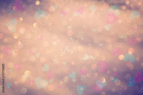 canvas print picture Vintage colorful bokeh with hearts