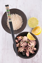 rice and octopus