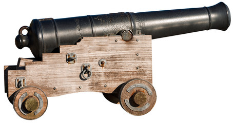 Old Cannon Isolated on White