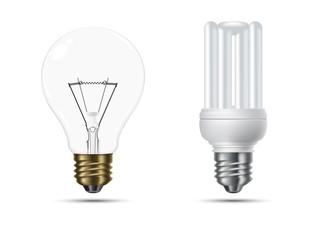 Conventional and Energy Saving Light Bulbs Vector