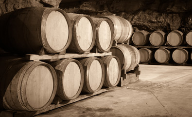 Vintage toned photo  of  winery cellar