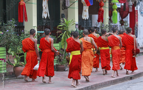 Poster monks in luang prabang