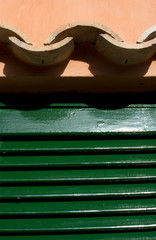 Roof tile closeup with green door for background texture.
