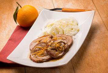 roast with orange sauce and fennel salad