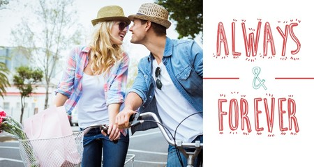 Composite image of hip young couple on a bike ride