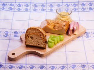 Rustical traditional heavy dinner on the wooden plate