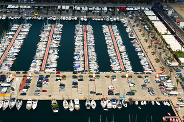 aerial view of yachts at Port Olimpic. Barcelona