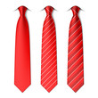 Red plain and striped ties - 75733040