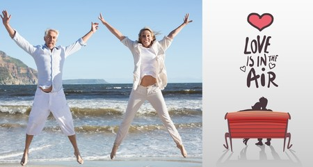 Composite image of happy couple jumping on the beach together