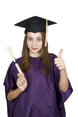 Young girl holding her diploma. Isolated over white background.