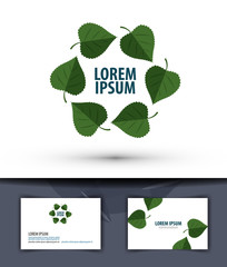 Nature. Leaves in the circle. Logo, icon, emblem, template,