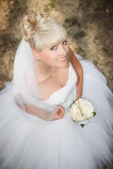 Portrait of pretty bride with veil.