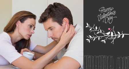 Composite image of woman consoling a sad man at home