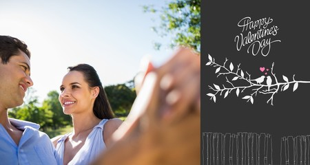 Composite image of loving and happy couple dancing at park