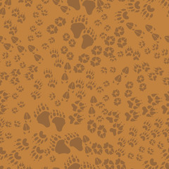 Seamless pattern of animal trails
