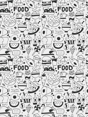 Food elements doodles hand drawn line icon, eps10