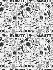 Cosmetics beauty elements doodles hand drawn line icon, eps10