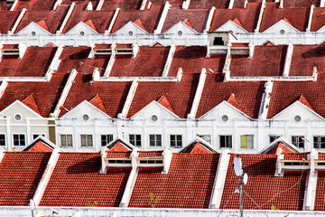 Close View on Red White Terraced Houses - Melaka, Malaysia