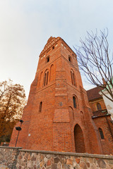 Belfry of St. Mary Church (1411) in Warsaw, Poland