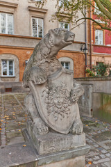 Sculpture of a bear with a shield. Warsaw, Poland