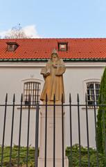 St. Benedict statue in St. Kazimierz Church. Warsaw, Poland