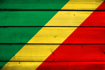 Congo Republic Flag on wood background
