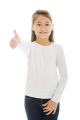 Little girl thumbs up