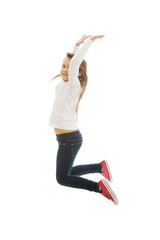 Girl jumping with joy