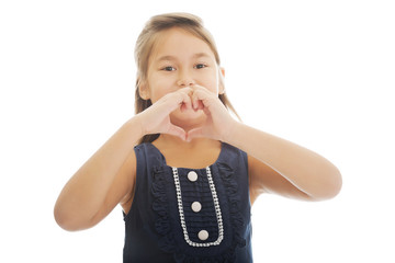 Girl shows hearts on hands