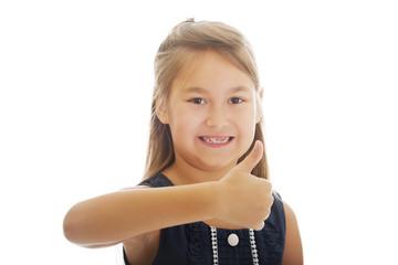 Little girl thumbs up