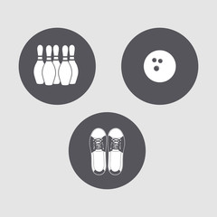 "Mini set of simple icons on the theme of ""Bowling""."