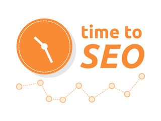 Time to SEO word combined with clock and graph