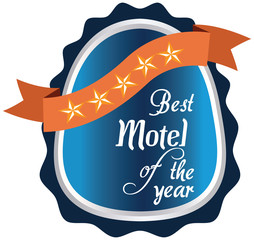 Vector promo label of best motel service award of the year.