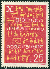 stamp printed in the Italy shows Development of Postal Service