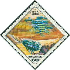 stamp printed in Hungary shows Paintings Moon settlement