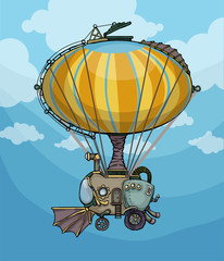 cute colorful hot air balloon vehicle, in sky background