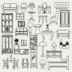 Furniture icons set - Illustration