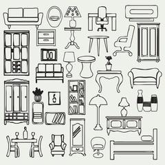 Furniture icons set - Illustration