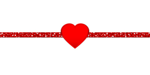 Glitter Ribbon Horizontal Red Heart