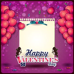 Balloons in heart with sheet and cupid