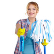 housewife cleaner. Isolated over white background