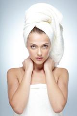Closeup portrait of young beautiful woman with fresh skin