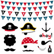 Pirate photo booth props and scrapbooking vector set - 75738403