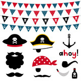 Pirate Photo Booth Props And Scrapbooking  Set Wall Sticker