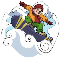 boy snowboarding, extreme winter fun