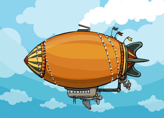 cute colorful hot air balloon, in sky background