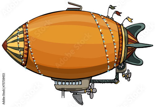 cute colorful hot air balloon, isolated on white - 75738453