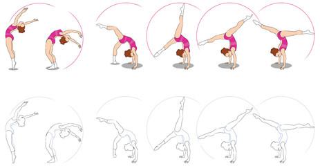 Consecutive poses of a rhytmic gymnastics.