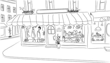 European sidewalk with fashion shop. Sketch.