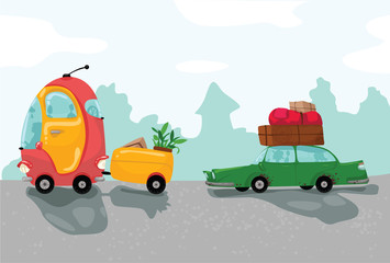 Two cars travel with a lot of luggage. Cartoon illustration.